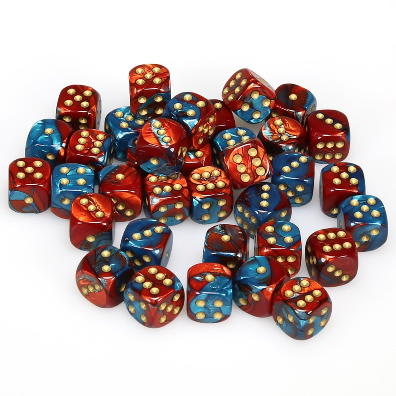 12mm D6 Blue Teal//Gold 36 Dice Chessex Gemini