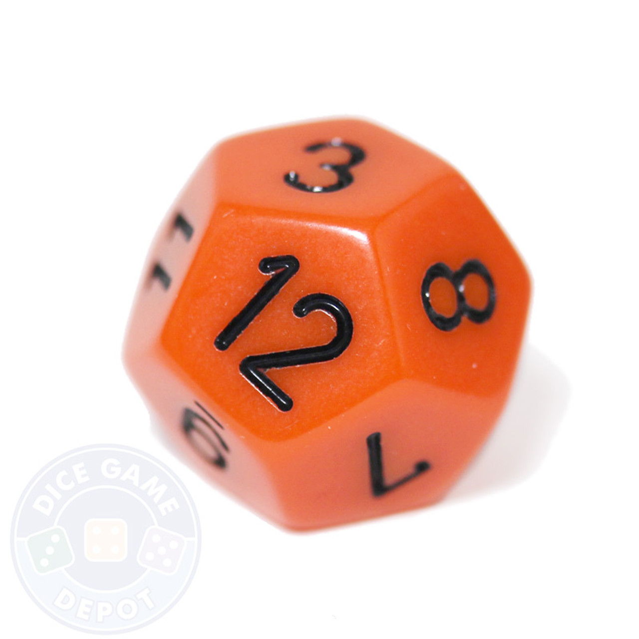 12 Sided Opaque Dice D12 Orange