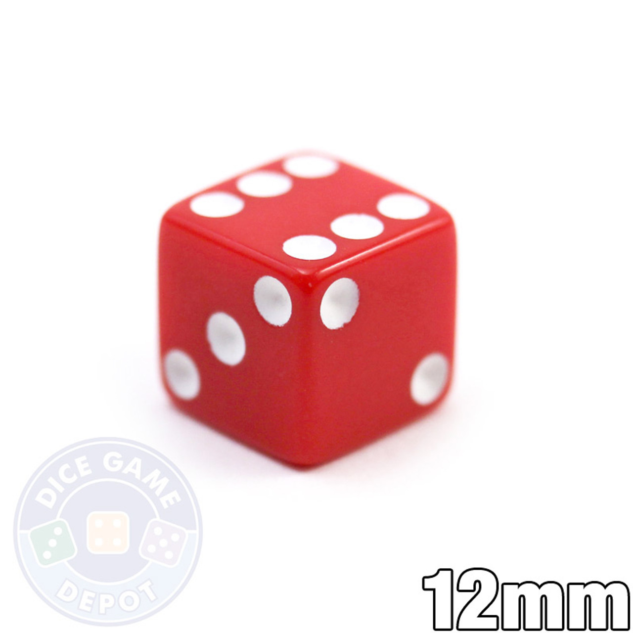 Opaque Dice Red 12mm 12 Inch D6