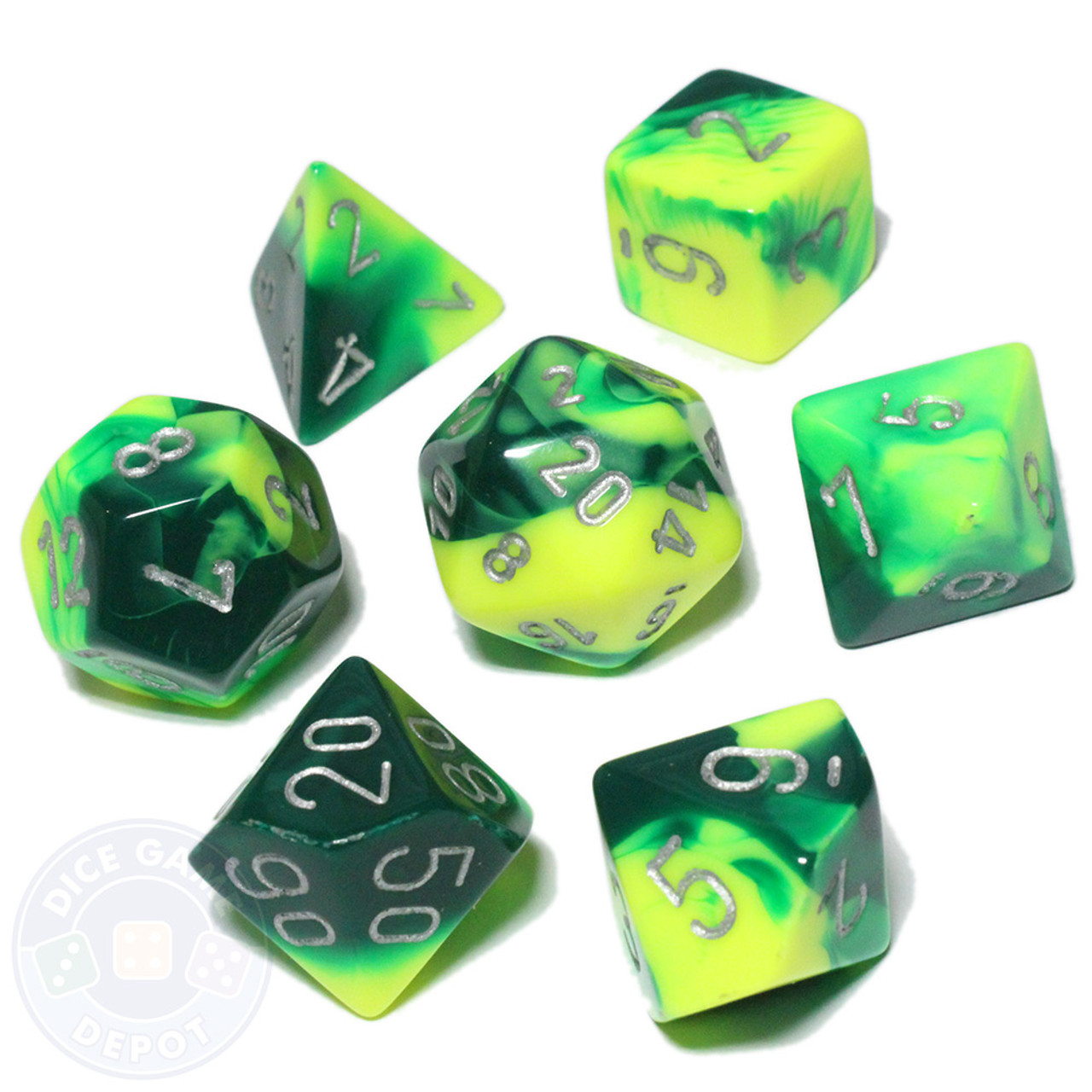 Festive Green with Silver 16mm 7 Die Polyhedral Dice Set