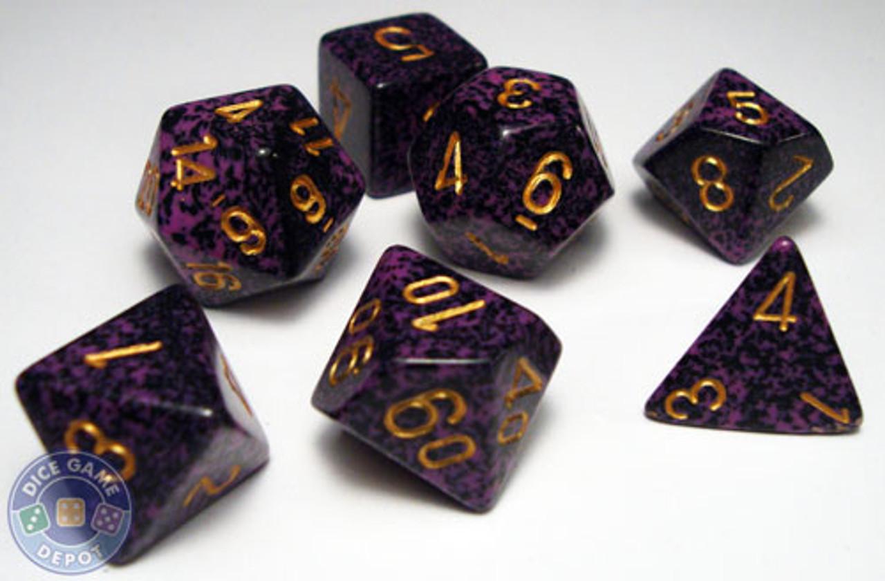 12 Dice Hurricane Purple Gold Black Yahtzee Speckled 12mm D6 RPG Chessex Dice