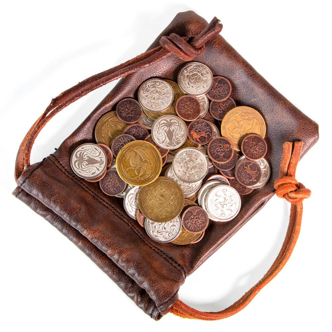 2d4708defa55dd The Dragon s Hoard - 60 Metal Coins in Leather Pouch - Dice Game Depot