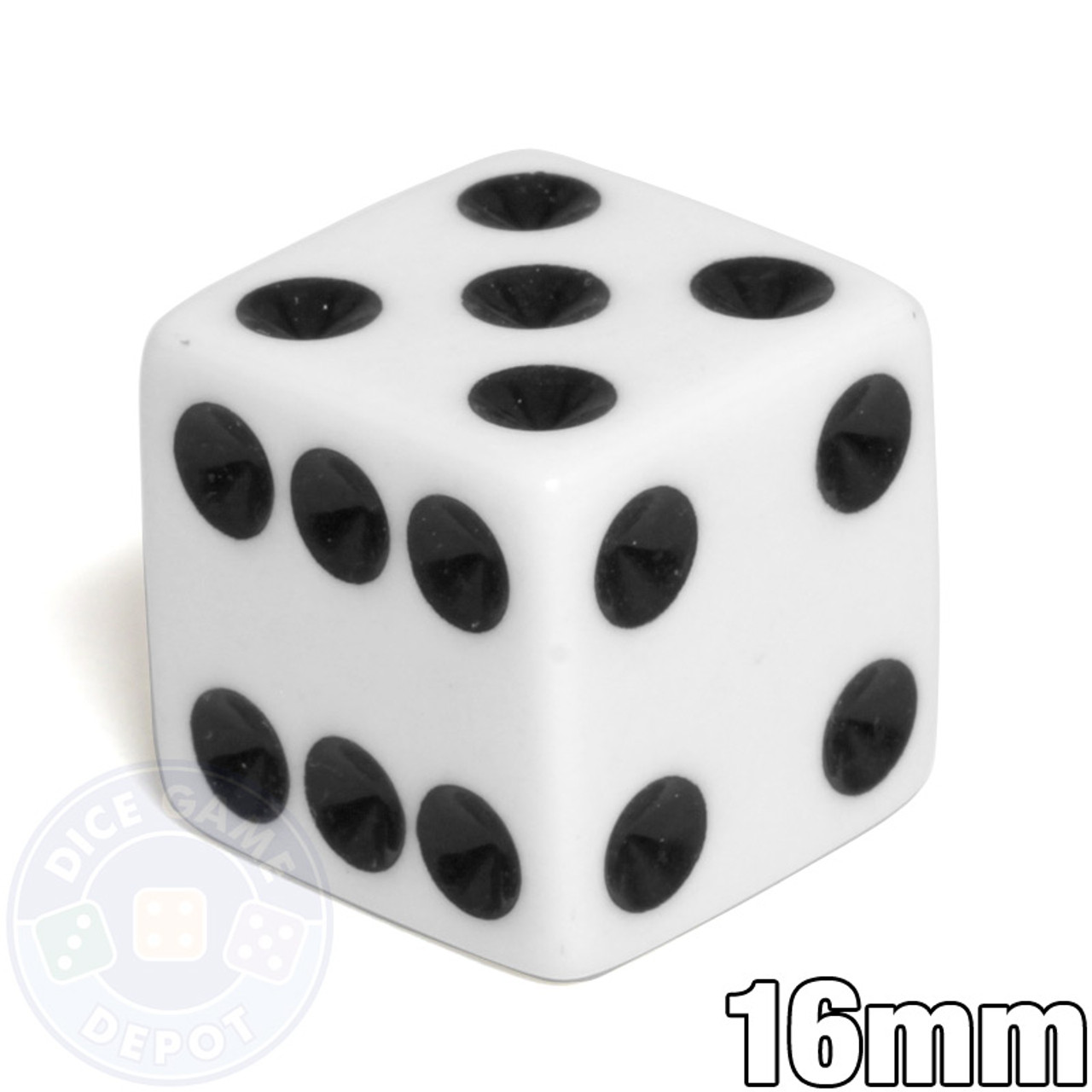 Dice /& Games Opaque 10 x 16mm D6 White with Black D/&D RPG