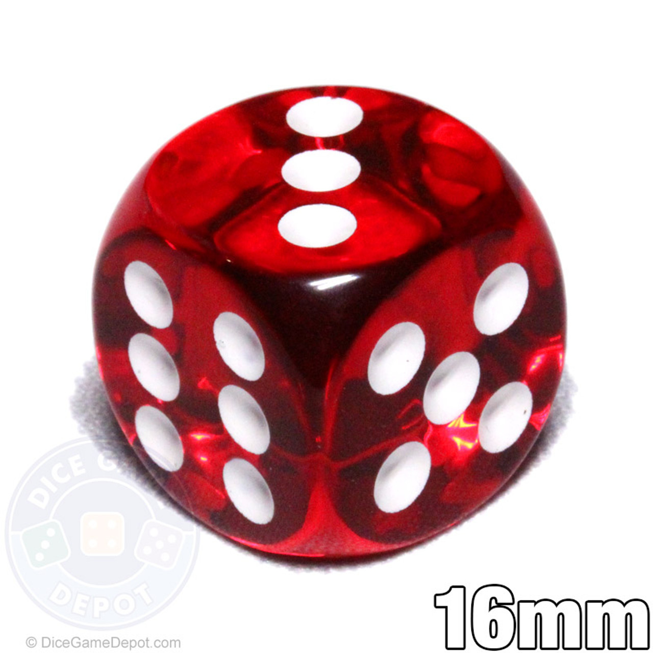 50 Six Sided Dice Set D6 16mm Standard Rounded Translucent Games Die Green Red