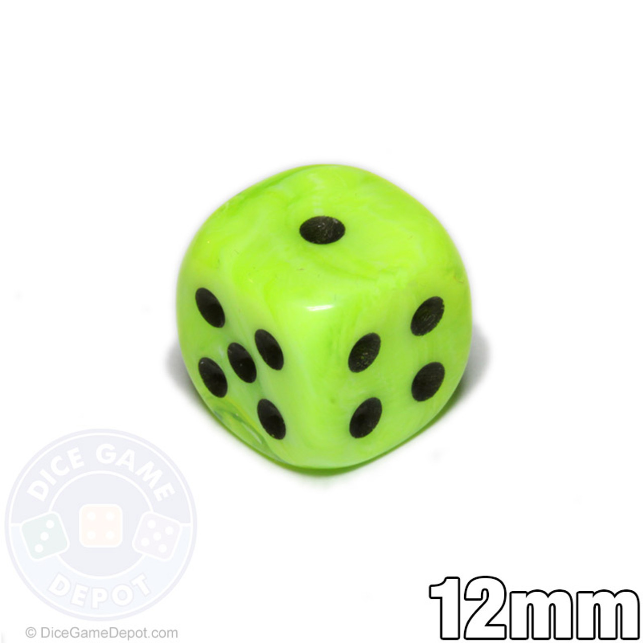 Bright Green 12mm Vortex Dice For Sale Dice Game Depot