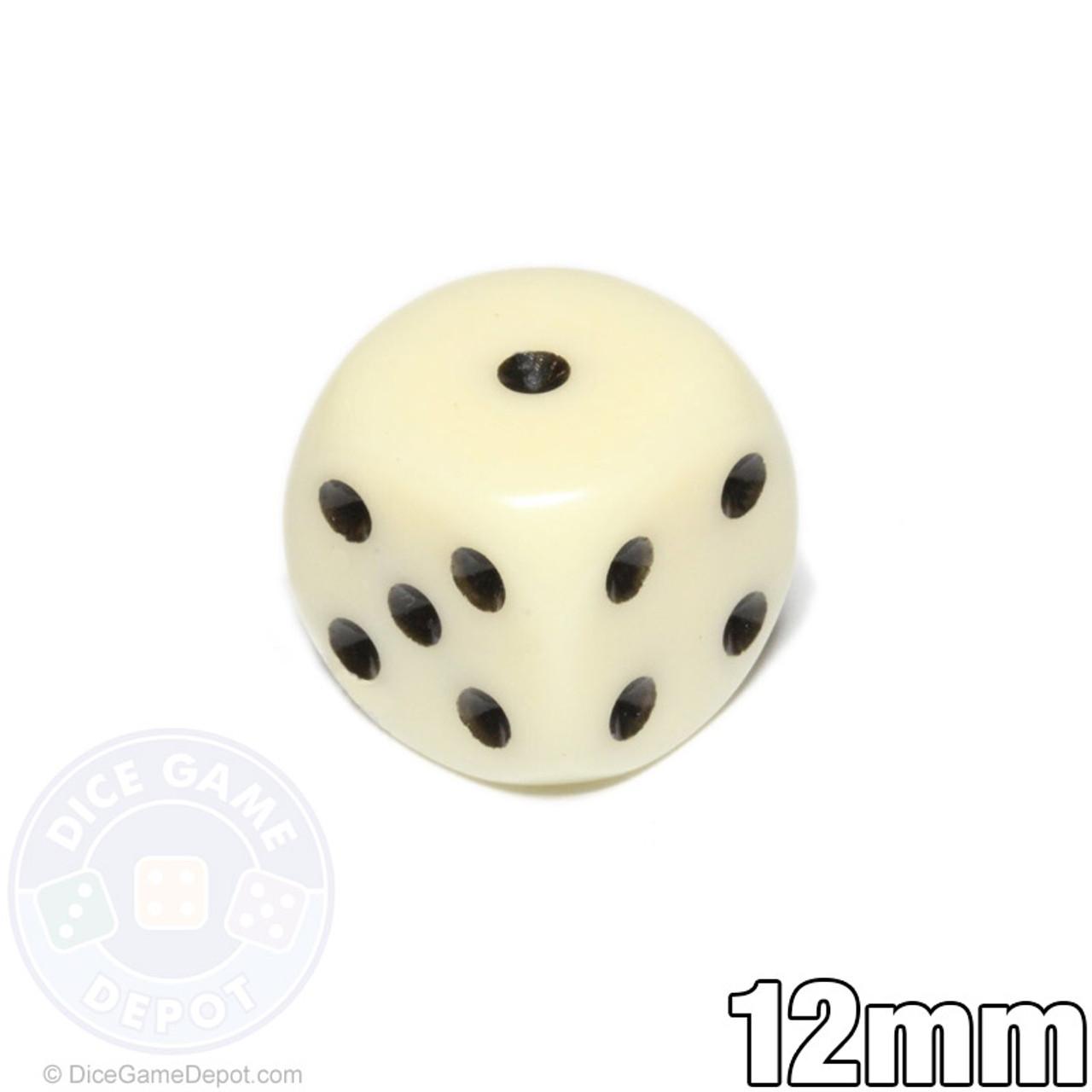 Round Corners 6 x 12mm KOPLOW Dice-Opaque Deluxe Ivory//Black