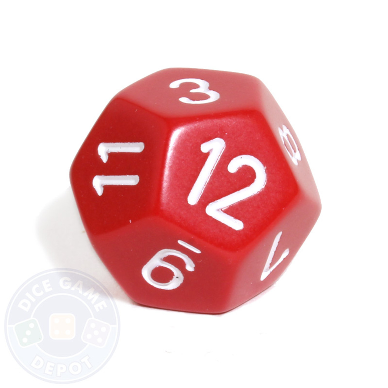 12 sided opaque dice d12 red dice game depot