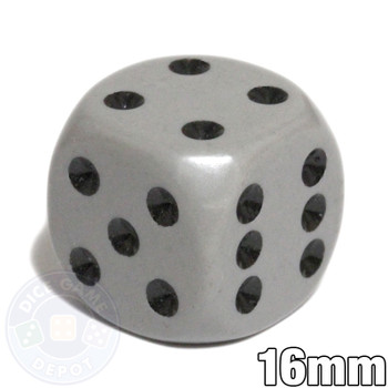 Gray 6-sided dice - Round corners - 16mm