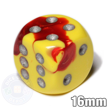 Gemini 6-sided dice - Red and yellow d6