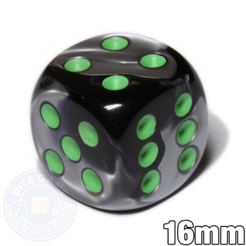 Gemini d6 dice - Black and gray