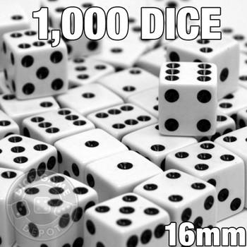 1000 white opaque dice - Bulk gaming dice