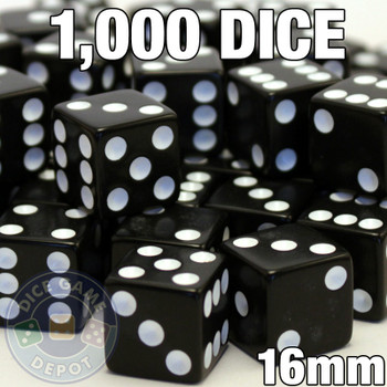 1000 black opaque dice - Bulk gaming dice
