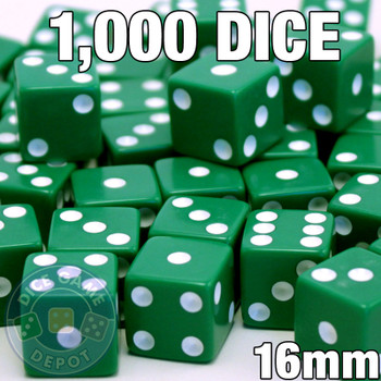1000 green opaque dice - Bulk gaming dice