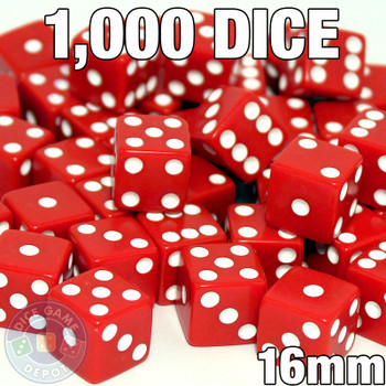 1000 red opaque dice - Bulk gaming dice