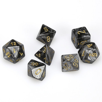 7-Piece RPG Dice Set - Lustrous Black with Gold Numbers