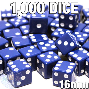 1000 blue opaque dice - Bulk gaming dice