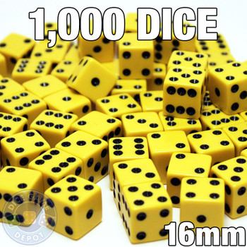 1000 yellow opaque dice - Bulk gaming dice