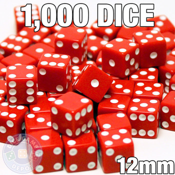 1000 red 12mm opaque dice - Bulk gaming dice