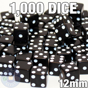 1000 black 12mm opaque dice - Bulk gaming dice