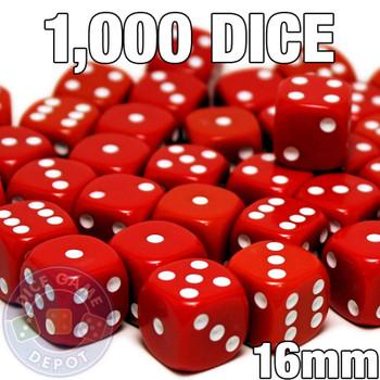 1000 red opaque round-corner dice - Bulk gaming dice