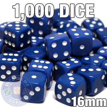 Opaque Round-Corner Dice - Set of 1000 Blue d6s