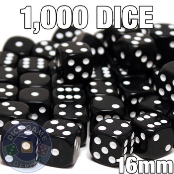 1000 black opaque round-corner dice - Bulk gaming dice