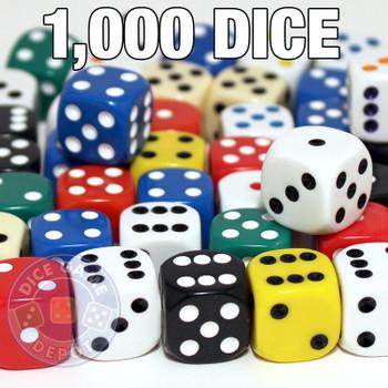 Set of 1000 assorted 16mm round-corner dice
