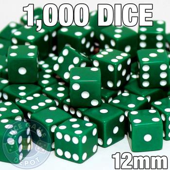 1000 green 12mm opaque dice - Bulk gaming dice