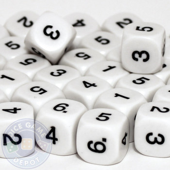 Math dice set of 200 - One through six