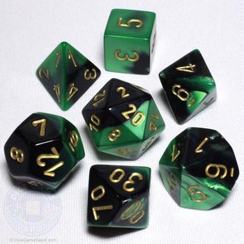 Black and Green Gemini Dice Set - DnD Dice