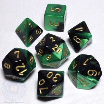 Black and Green Gemini Dice Set - DnD Dice