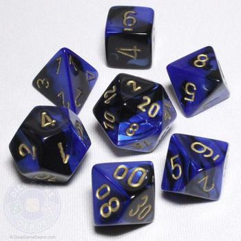 Gemini Black and Blue dice set - DnD dice