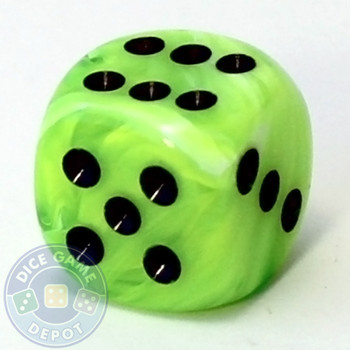 Bright green Vortex dice from Chessex