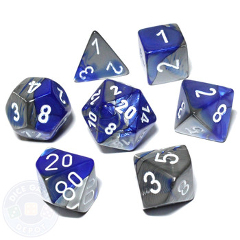 DnD Dice Set - Gemini - Blue and Steel