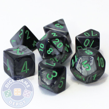 7-piece Gemini dice set - D&D dice - Black and gray