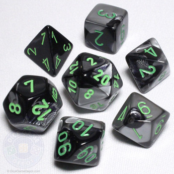Black and gray Gemini dice set - DnD dice