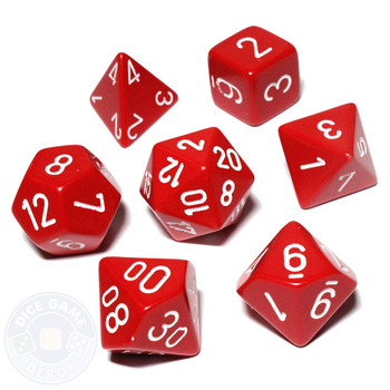 Opaque red D&D role-playing dice set
