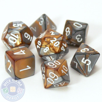7-piece Gemini dice set - D&D dice - Copper and steel