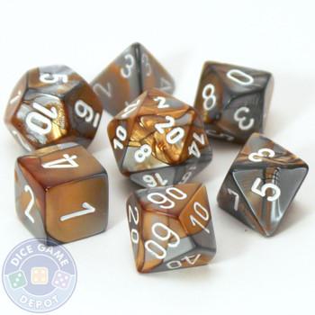 7-piece Gemini dice set - D&D dice - Copper and steel