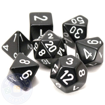 Opaque black 7-piece D&D RPG dice set