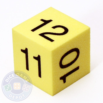 25mm Foam Numeral Dice - Numbers 7-12