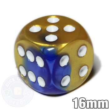 Gemini d6 dice - Blue and gold with white spots