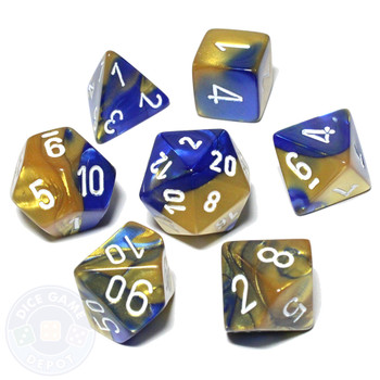 Gemini dice set - D&D dice - Blue and gold