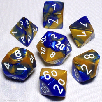 Blue and Gold Gemini Dice Set - DnD Dice