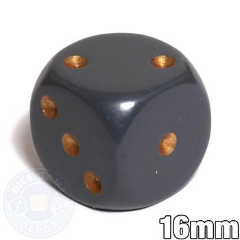 Dark gray 6-sided dice - Round corners - 16mm
