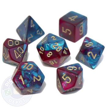 7-piece Gemini dice set - D&D dice - Purple and Teal