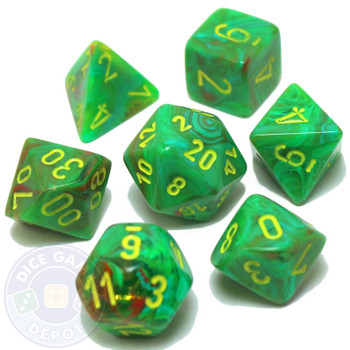 7-piece set of D&D dice - Vortex - Slime