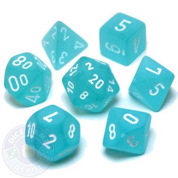 D&D dice set - 7-Piece RPG dice - Frosted Teal