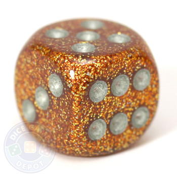 6-sided Glitter dice - Gold