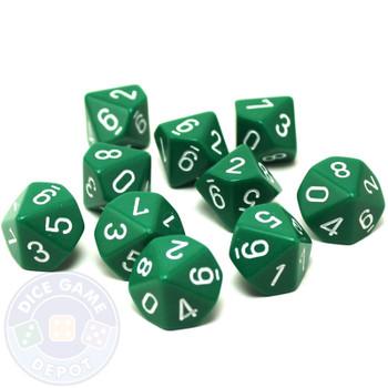 d10 set of ten green dice